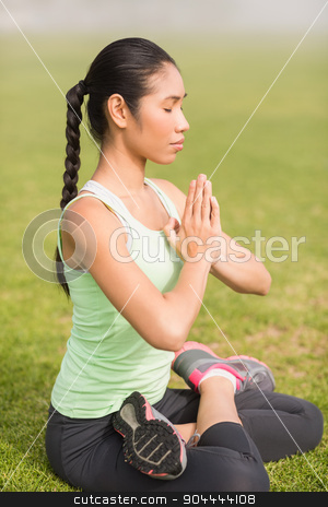 Peaceful sporty woman doing the lotus pose stock photo, Peaceful sporty woman doing the lotus pose in parkland by Wavebreak Media