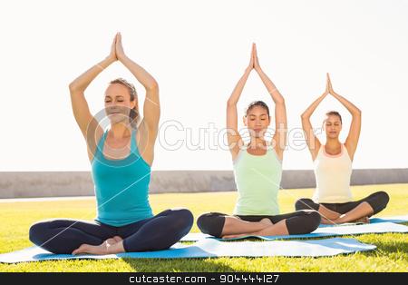 Peaceful sporty women doing lotus pose stock photo, Peaceful sporty women doing lotus pose in parkland by Wavebreak Media
