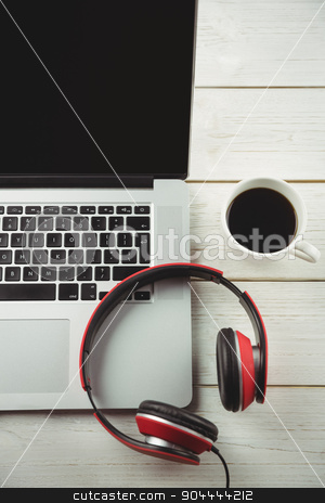 Overhead view of a desk stock photo, Overhead view of a desk with electronic devices by Wavebreak Media