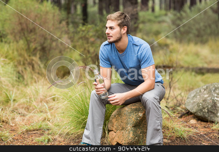 Handsome man sitting on a stone  stock photo, Handsome man sitting on a stone in the nature by Wavebreak Media