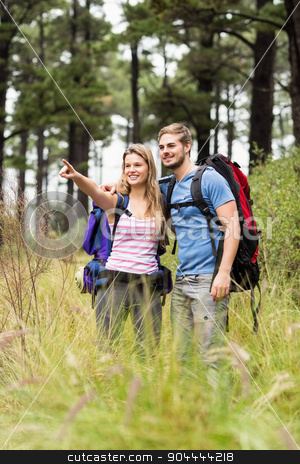 Young hiker couple pointing stock photo, Young hiker couple pointing in the nature by Wavebreak Media