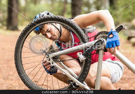 Happy handsome biker repairing bike stock photo, Happy handsome biker repairing bike in the nature by Wavebreak Media