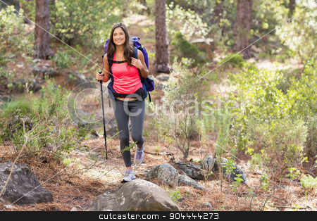Young happy jogger hiking stock photo, Young happy jogger hiking in the nature by Wavebreak Media