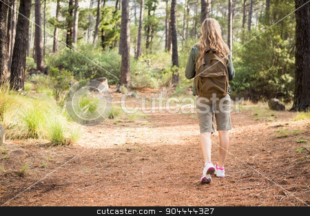 Blonde hiker hiking on path stock photo, Blonde hiker hiking on path in the nature by Wavebreak Media