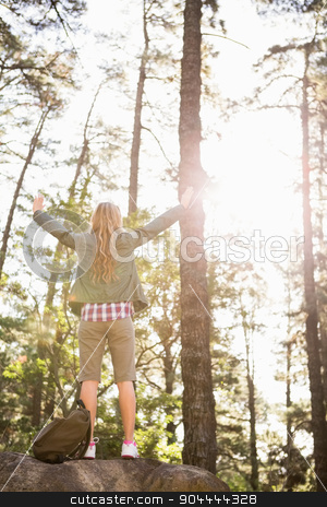 Carefree blonde hiker standing on stone with arms outstretched  stock photo, Carefree blonde hiker standing on stone with arms outstretched in the nature by Wavebreak Media