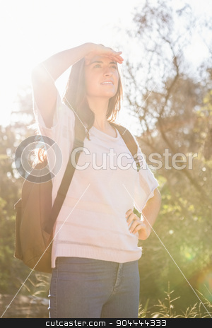 Pretty brunette hiker looking for path  stock photo, Pretty brunette hiker looking for path in the nature by Wavebreak Media