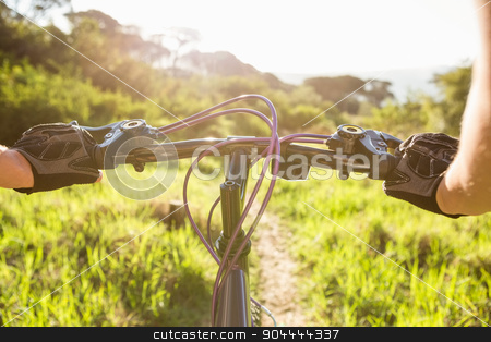 Woman mountain biking and holding handlebars  stock photo, Woman mountain biking and holding handlebars in the nature by Wavebreak Media