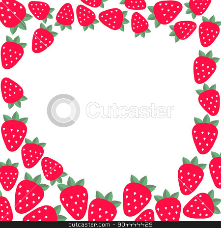 Frame with strawberries. Vector template for design. stock vector clipart, Frame with strawberries. Vector template for design by Vladimir Khapaev