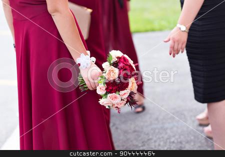 Wedding bouquet of a bride and bridesmaid stock photo, Red wedding bouquet of a bride and bridesmaid by Satura86