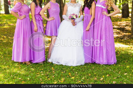 bridesmaids stock photo, Row of bridesmaids  at wedding ceremony. Bride and bridesmaids by Satura86