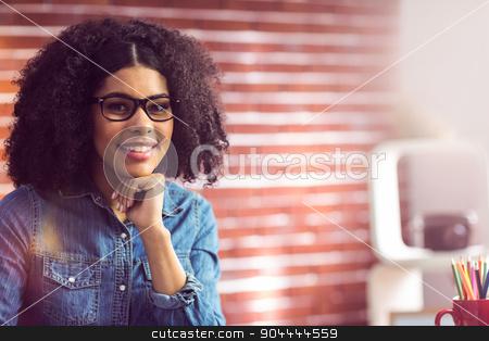 Portrait of a casual businesswoman  stock photo, Portrait of a casual businesswoman in her office  by Wavebreak Media