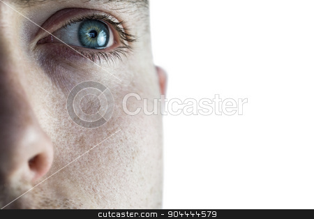 Close up of eye looking up stock photo, Close up of man eye looking up by Wavebreak Media
