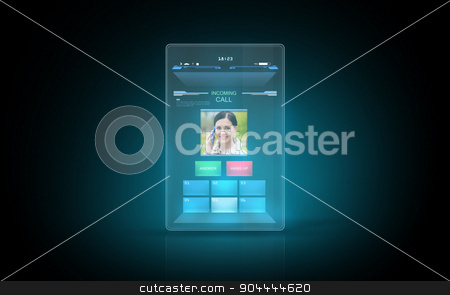 tablet with video call interface on screen stock photo, modern technology, communication and futuristic concept - illuminating virtual tablet with video call interface on screen by Syda Productions