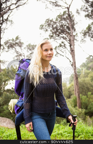 Female hiker walking with a backpack  stock photo, Female hiker walking with a backpack on a crossing path by Wavebreak Media