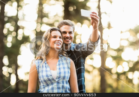 Happy smiling couple embracing and taking selfies stock photo, Happy smiling couple embracing and taking selfies in the nature by Wavebreak Media