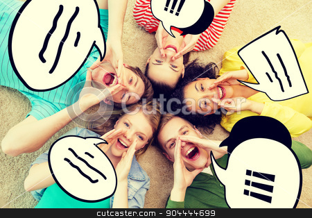 smiling people lying down on floor and screaming stock photo, friendship, lifestyle and happiness concept - group of young smiling people lying on floor in circle screaming and shouting by Syda Productions