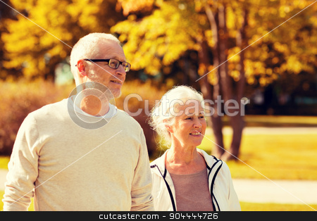 senior couple in city park stock photo, family, age, tourism, travel and people concept - senior couple walking in city park by Syda Productions