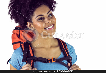 Close up view of a young woman with a backpack   stock photo, Close up view of a young woman with a backpack  against a white background by Wavebreak Media
