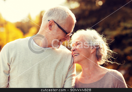 senior couple in park stock photo, family, age, tourism, travel and people concept - senior couple walking in park by Syda Productions