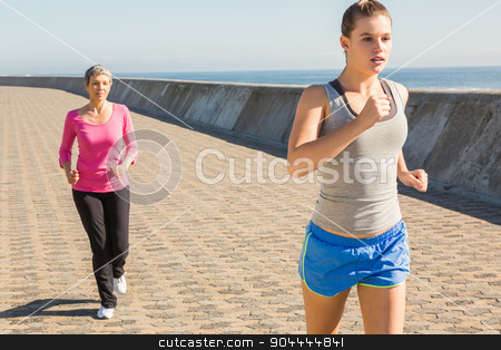 Two sporty women jogging together stock photo, Two sporty women jogging together at promenade by Wavebreak Media