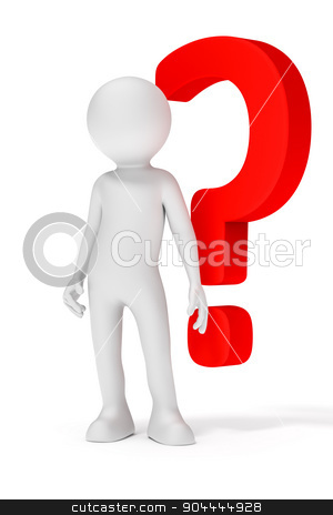 red question mark stock photo, An image of a white man with a red question mark by Markus Gann