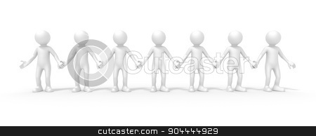 seven people stock photo, An image of seven people standing hand in hand by Markus Gann