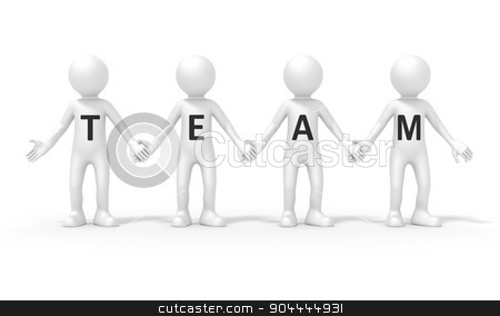four people team stock photo, An image of a four people team standing hand in hand by Markus Gann