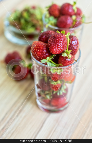 Strawberry stock photo, Fresh ripe strawberry in a glass by olinchuk