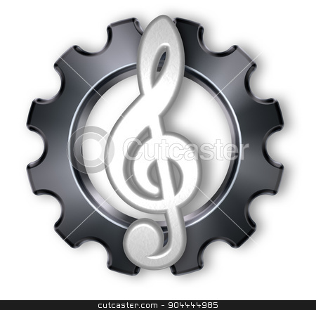 industrial music stock photo, gear wheel and metal clef on white background - 3d illustration by J?