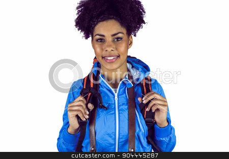 Close up view of a young woman with camera and backpack stock photo, Close up view of a young woman with camera and backpack on a white background by Wavebreak Media