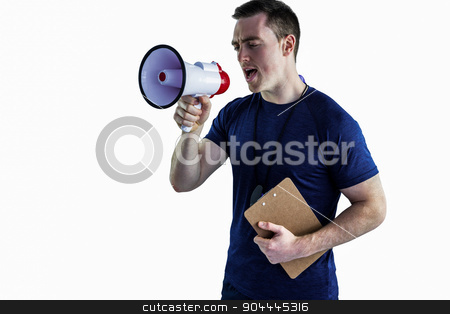 Male trainer yelling through the megaphone stock photo, Trainer yelling through the megaphone on a white background by Wavebreak Media