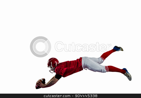 American football player trying to score stock photo, American football player trying to score on american football field by Wavebreak Media