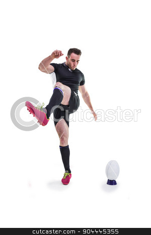 Rugby player kicking the ball stock photo, Rugby player kicking the ball on white background by Wavebreak Media