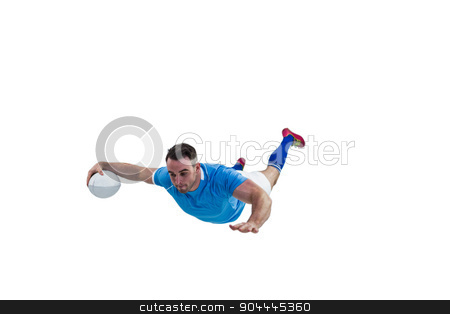 Rugby player scoring a try stock photo, Rugby player scoring a try on white background by Wavebreak Media