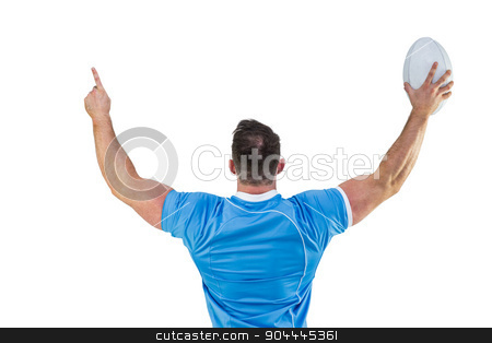 Rugby player cheering with the ball stock photo, Rugby player cheering with the ball on white background by Wavebreak Media