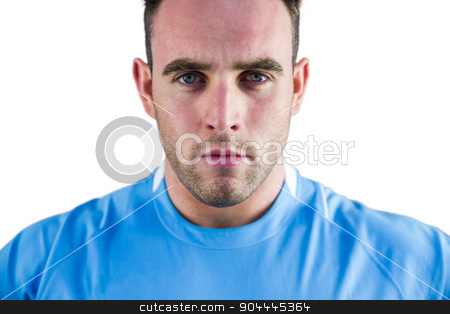 Rugby player looking at camera stock photo, Rugby player looking at camera on white background by Wavebreak Media