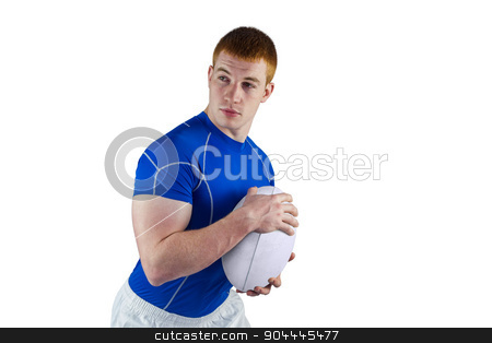 Rugby player running with the rugby ball stock photo, Rugby player running with the rugby ball on a white background by Wavebreak Media