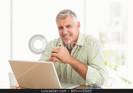 Smiling businessman working on a laptop stock photo, Portrait of a smiling businessman working on a laptop at office by Wavebreak Media