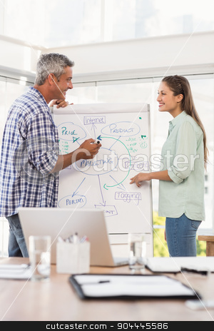 Casual business colleagues preparing presentation stock photo, Casual business colleagues preparing presentation in the office by Wavebreak Media