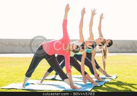 Sporty women doing triangle pose in yoga class stock photo, Sporty women doing triangle pose in yoga class in parkland by Wavebreak Media