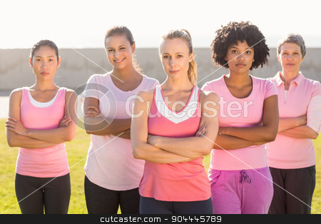 Women wearing pink for breast cancer with arms crossed stock photo, Portrait of women wearing pink for breast cancer with arms crossed in parkland by Wavebreak Media