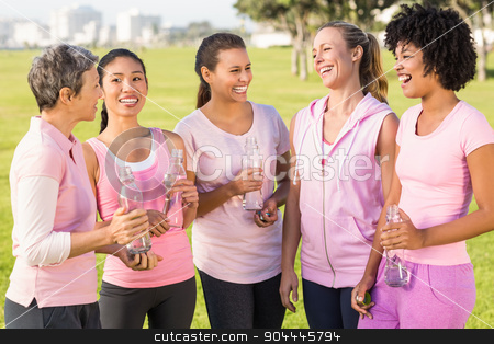 Women wearing pink for breast cancer and talking stock photo, Women wearing pink for breast cancer and talking in parkland by Wavebreak Media