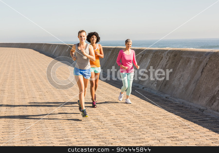 Sporty women jogging together stock photo, Sporty women jogging together at promenade by Wavebreak Media