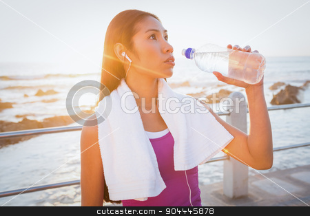 Fit woman resting and drinking water at promenade stock photo, Fit woman resting and drinking water at promenade on a sunny day by Wavebreak Media