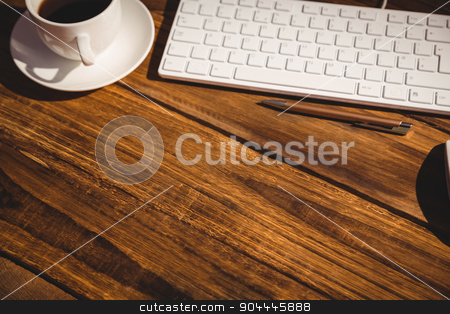 View of a desk stock photo, View of a desk with electronic devices by Wavebreak Media