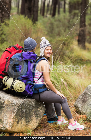 Portrait of a young happy hiker with friend stock photo, Portrait of a young happy hiker with friend in the nature by Wavebreak Media