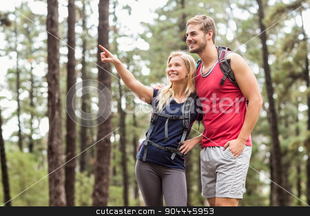 Happy young couple pointing at something stock photo, Happy young couple pointing at something in the nature by Wavebreak Media