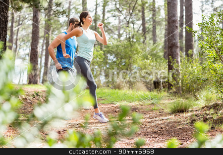 Happy joggers running stock photo, Happy joggers running in the nature by Wavebreak Media