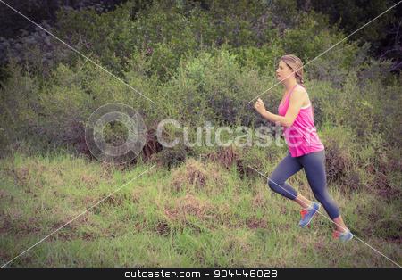 Pretty blonde athlete jogging stock photo, Pretty blonde athlete jogging in the nature by Wavebreak Media
