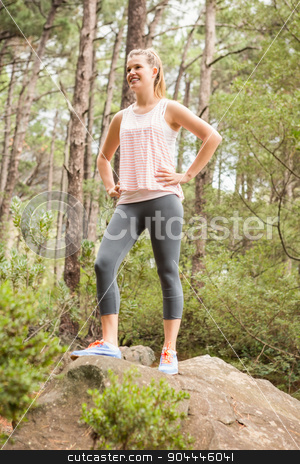 Smiling blonde hiker standing on rock stock photo, Smiling blonde hiker standing on rock in the nature by Wavebreak Media